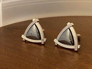 Anson Triangular Silver Tone Hematite Cufflinks