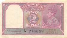 India  2  Rupees ND. 1943  P 17b  Series  B/19 Circulated banknote D32