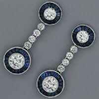 14K White Gold FN 2.60 CT Blue Sapphire Diamond Retro Bezel Set Earrings 925 SS