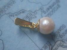 Perlenanhänger 16 mm Gold 585, Kettenanhänger Gold 585 mit Zuchtperle 6,5 mm