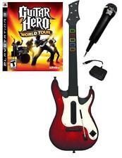 NEW PS3 Wireless Guitar Hero 5 Guitar, GH World Tour Game & Microphone Bundle