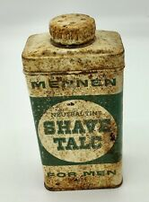 VINTAGE MENNEN NEUTRAL TINT SHAVE TALC FOR MEN TIN Rustic Collectible 4-1/2''