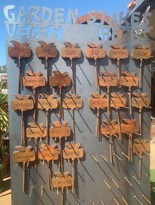 Garden Stakes Herb Names Metal Garden Art Rusty Australian Made