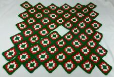 Crocheted Christmas Tree Skirt Granny Squares Red Green Homemade Yarn Square