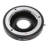 Minolta MD Manual Lens to Nikon F DSLR Camera Adapter Ring +Glass Focus Infinity