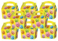 Happy Smiley Face Yellow Birthday Party Plate Food Boxes Loot Lunch Cardboard