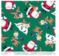 Christmas Fabric - Fun With Rudolph Santa Green - QT Quilting Treasures YARD