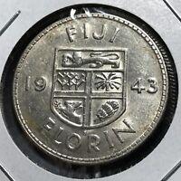 1943-S FIJI SILVER FLORIN NEAR UNCIRCULATED COIN