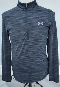 men's Under Armour heatgear  long sleeve  zipper top size Small uk /dark grey