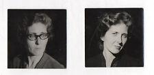 2 PHOTOS ANCIENNES Snapshot Femme Portrait Lunettes Yeux Coiffure Cheveux Regard