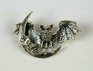 Vintage Sterling Silver Flying Bat and Moon Pin with Ruby Eyes | Halloween | Gif