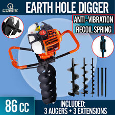 86cc Post Hole Digger Earth Auger Petrol Drill Bits Fence Borer Professional