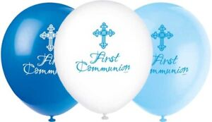 FIRST HOLY COMMUNION BALLOONS - 8 x BLUE & WHITE - DECORATIONS - BOY - helium