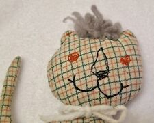 Vintage 1950s Handmade Stuffed Animal Plaid CAT Toy Embroidery Folk Handcrafted
