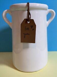 Shabby Chic White Ceramic Milk Churn Style Vase With 'For You' Tag 13cm