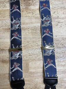"""Vintage Trafalgar American """"Tackle"""" Football Silk Suspenders Red & Blue"""