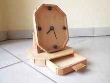 Originelle 70erJahre Tischuhr mit Schublade Shabby-Look helles Holz Funktioniert