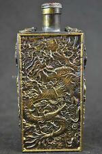 China old Bronze handwork dragon phoenix useable snuff bottle