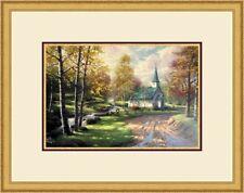 "Thomas Kinkade  "" The Aspen Chapel "" Custom Framed Print FREE SHIP USA"
