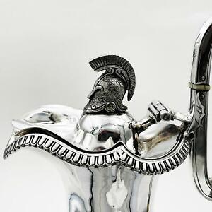 Fine VICTORIAN SILVER PLATE HOT WATER / COFFEE JUG c1890 ROMAN CHARIOT SCENES