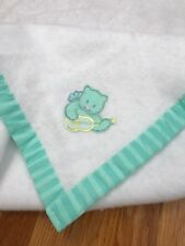 VTG Dundee Cat Playing A Guitar Baby Crib Blanket Green & White Polyester AD