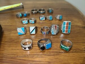 Antique Turquoise rings lot or scrap silver
