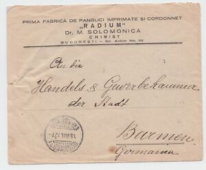 Romania 1927 COVER RADIUM COMMERCIAL CHIMIST IMPRINT USED ROYAL MAIL
