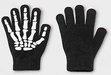 2pk Faded Glory Kids Gripper Skeleton 4Pc Gloves Set One Size Black - HALLOWEEN