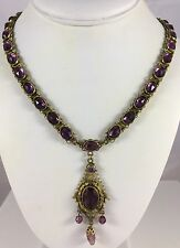 Antique Czech Czechoslovakian Brass Faceted Amethyst Purple Pendant Necklace