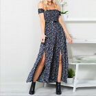 Women's Off Shoulder Boho Summer Maxi Long Evening Party Dress Size S M L XL 2XL