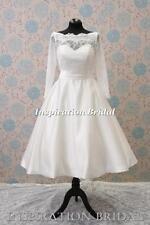 UK 1345 rétro courte longueur de thé genou à manches longues dentelle robe de mariée manches longues sash