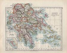 Carte victorienne 1909 ~ Grèce Corfou Cyclades Morée