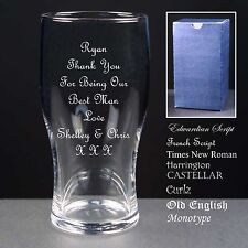 Personalised T Pint Glass Best Man Usher Bridesmaid Father of the Bride Groom