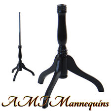 Black wooden tripod stand for Torsos, Dress Forms, - black base- Mh