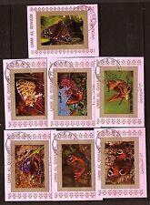204 7 petits blocs oblitérés sur divers papillons  UMM EL KIWAIN