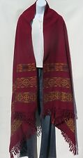 Yak Wool|Kullu|Shawl/Throw|Handloomed|Solid|Base Color: Dark Red