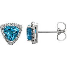 Genuine Swiss Blue Topaz Trillion Cut Gems & .08 ctw Diamonds Earrings 14K. Gold