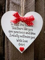 No1 teacher gift - Nursery - Personalised Handmade Wooden Heart- End of the year