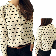 New Fashion Womens Ladies Loose Chiffon Tops Long Sleeve Shirt Casual Blouse