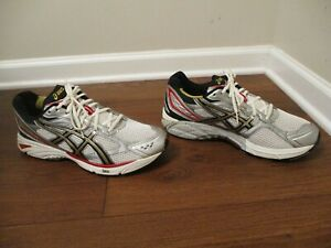 Used Worn Size 13, Width 4E Asics Gel Foundation 8 Shoes White Black Silver Gold