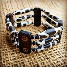 Bracelet with Brown Bone Tubes /& Black Maasai Beads Handmade African Jewellery