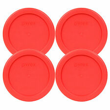 "Pyrex 4"" Storage Plastic Red Lid Storage Cover 4 Pack For 1C Bowl Dish 7202-PC"