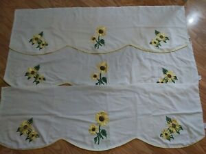 Vintage Curtain Valances.3. Cream W/Ribbon Embroidered Sunflowers. EUC