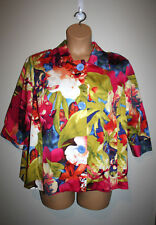 NEW Womens TALBOTS Multi Color Tropical Floral 3 Button Blazer Jacket 12W 12 W