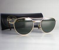 Vintage Ray Ban USA B&L 1940's RETRO ROUND Sunglasses gold aviator gatsby pilot