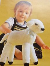 "Toy Spring Lamb Knitting Pattern Vintage 10"" Tall Stuffed  Double Knitting Wool"