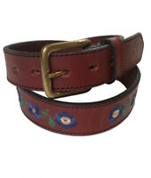 """Las Flores"" 100% Argentine Embroidered Leather Polo Belt - Red/Blue - Excellent"