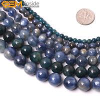 "Natural Round Genuine Blue Kyanite Gemstone Beads For Jewelry Making 15"" Beaded"
