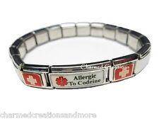 Allergic To Codeine Superlink 9mm Italian Charm Medical Alert Starter Bracelet