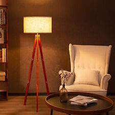 Zenvida Floor Lamp Wood Tripod Mid Century Modern Standing Reading Light Linen